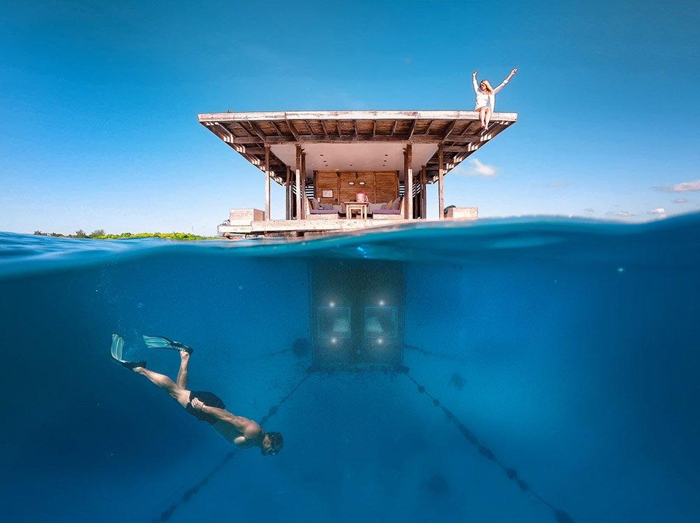 Över och under vattnet på Manta Resort i Pemba Tanzania
